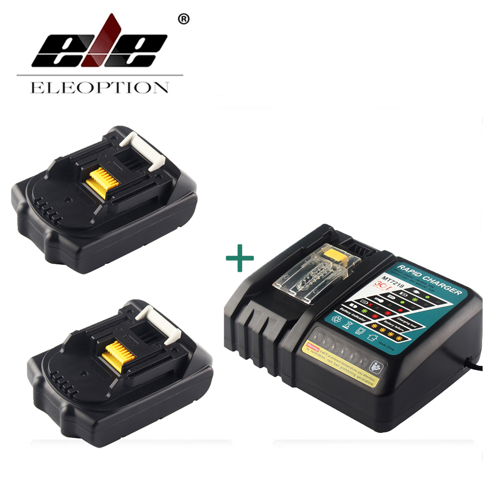 ELEOPTION 18V 2000mAh Li-ion 2 pcs Replacement Power Tool Battery For MAKITA 194205-3 194309-1 BL1815 + 7.2V-18V Charger 1 pc li ion battery replacement charger for bosch drill 18v 14 4v li ion battery bat609 bat609g bat618 bat618g p15