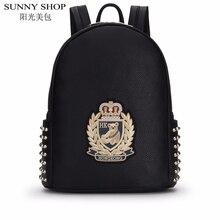 SUNNY SHOP корейские девушки дизайнер печати рюкзаки дамской одежды школьные сумки для подростков кожаный рюкзак женский sac dos