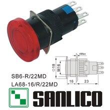 Interruptor de botão de cabeça de cogumelo iluminado xb6et la68 las1 lay16 sb6r/22md retorno momentâneo da mola 16mm