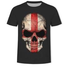 Hot Sale 3D Printed  Skull T-shirt Men Summer Fashion Short Sleeve Tshirt National flag T Shirt Tops&Tees streetwear