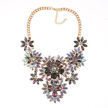 Fashion Vintage Exaggerated Full Jewel Flower Alloy Necklace Rhinestone Pendant Clavicle Chain Boutique