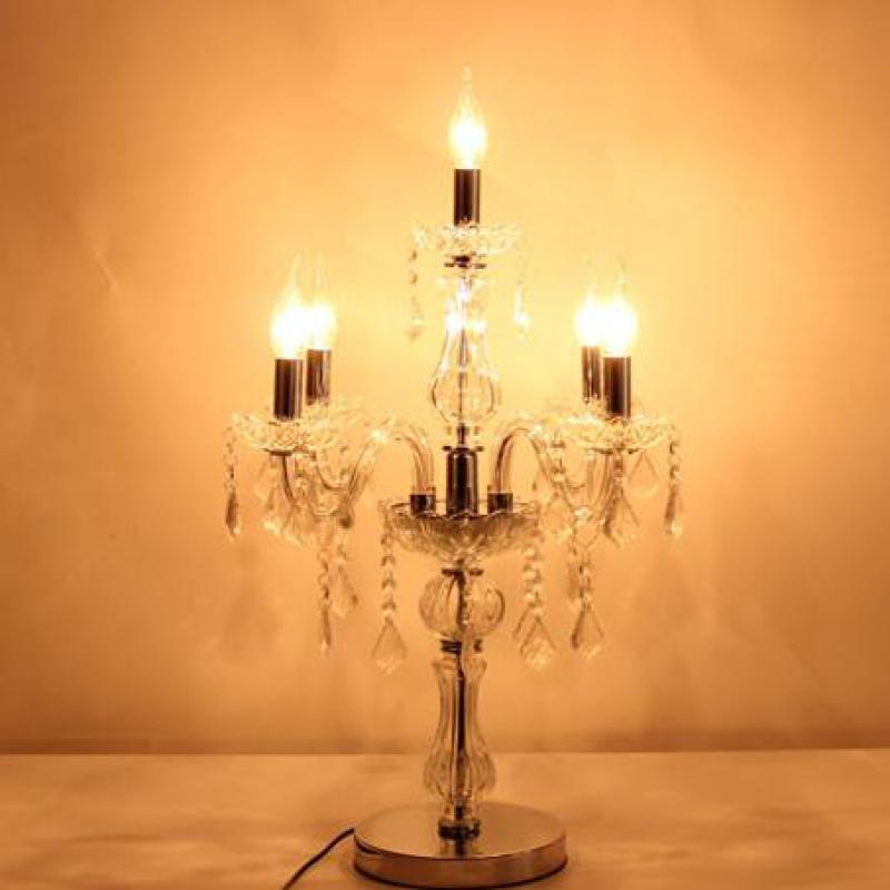Большой 5 рычажный хромированный Серебряный Прозрачный Хрустальный Настольный светильник кухонный стеклянный подсвечник Свадебная Свето