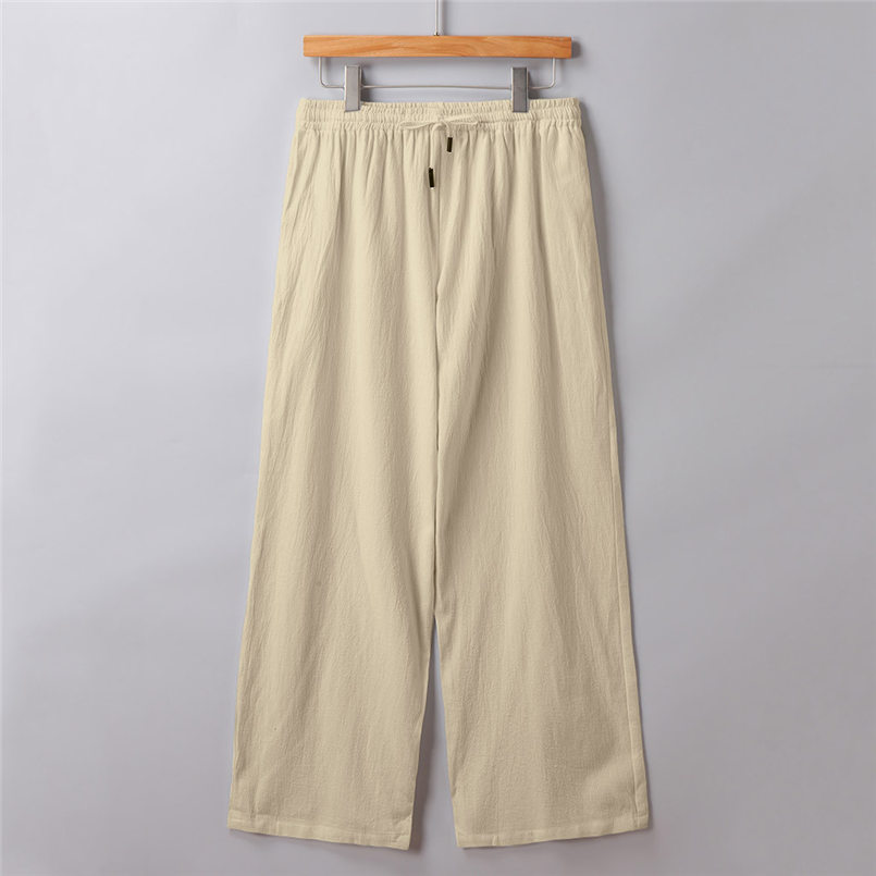 New Men Summer Fashion Trousers Linen Style Loose Casual Breathable Outdoor Solid Pants Sportswear Casual Straight Pants #4R06 (6)