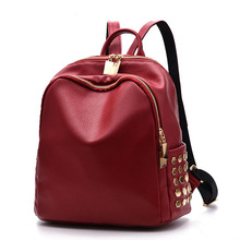 Headphone Hole Zipper Rivet Backpack Female Large Capacity PU Leather Women Backpack Travel Bag Girl Mochila Ladies Shoulder Bag casual double zipper women backpack drawstring pu leather bagpack large capacity travel bag female rucksack shoulder bag mochila