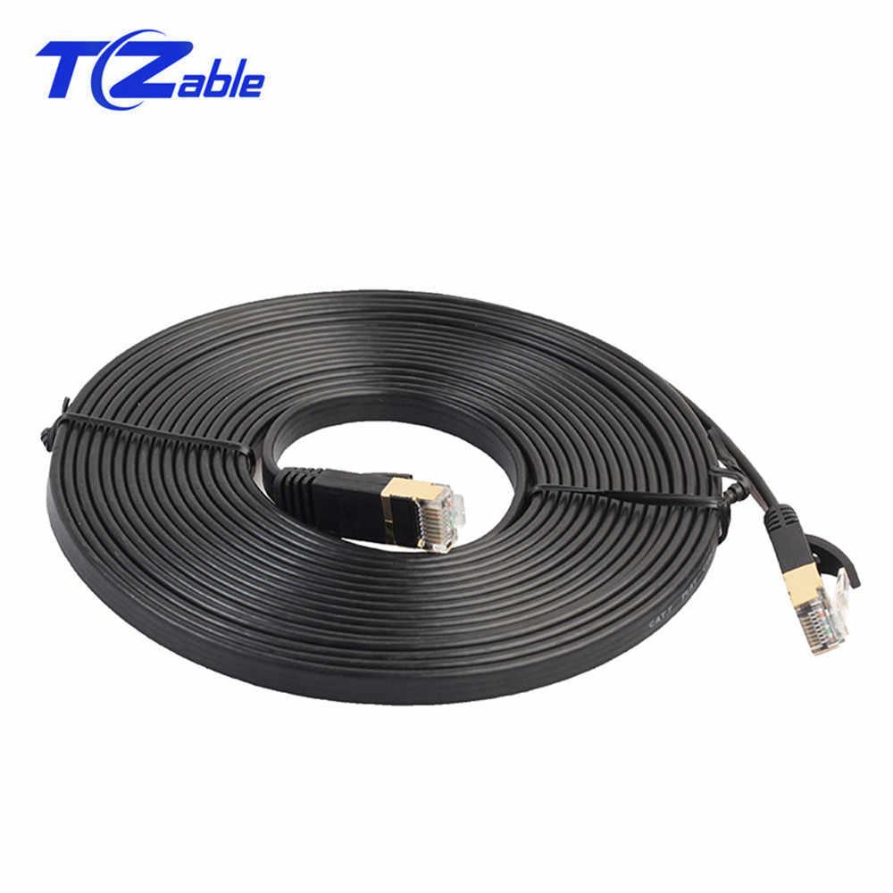Cat.7 RJ45 Ethernet düz kablo 10 Gigabit bilgisayar ağ kablosu Cat7 yama kablosu korumalı RJ45 8p8c konektörü modem yönlendirici
