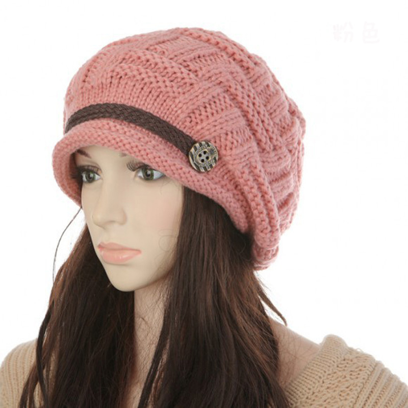 2Pcs Warmer Crochet Beanie Button Braided Baggy Gorros Women's Knitted Hats Winter Hat Caps For Women Bonnet Femme Beanies 2017 new women ladies cable knitted winter hats bonnet femme cotton slouch baggy cap crochet beanie gorros hat for women