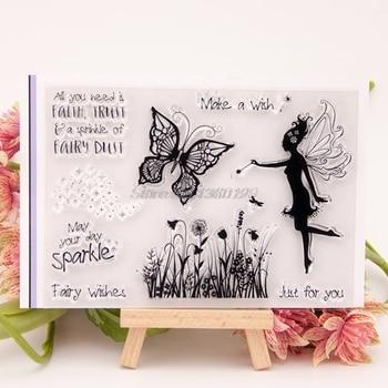 Sello de silicona transparente Hada mariposa para álbum de recortes DIY decoración para manualidades 15x10cm Oct17 Envío Directo