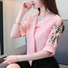 Summer New Women Short sleeve Blouse Embroidered V-neck shirt female Korean Fashion Bow tie loose plus size chiffon shirts OL To