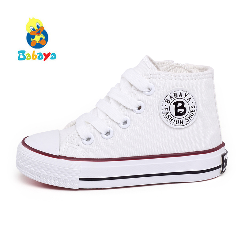 Kids Shoes For Girl Children Canvas Shoes Boys Sneakers 2018 Spring Autumn Girls Shoes White High Solid Fashion Children Shoes