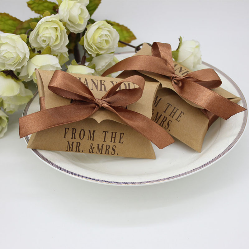 Kraft Paper Pillow Boxes Wedding Party Favors Gifts Candy Boxes