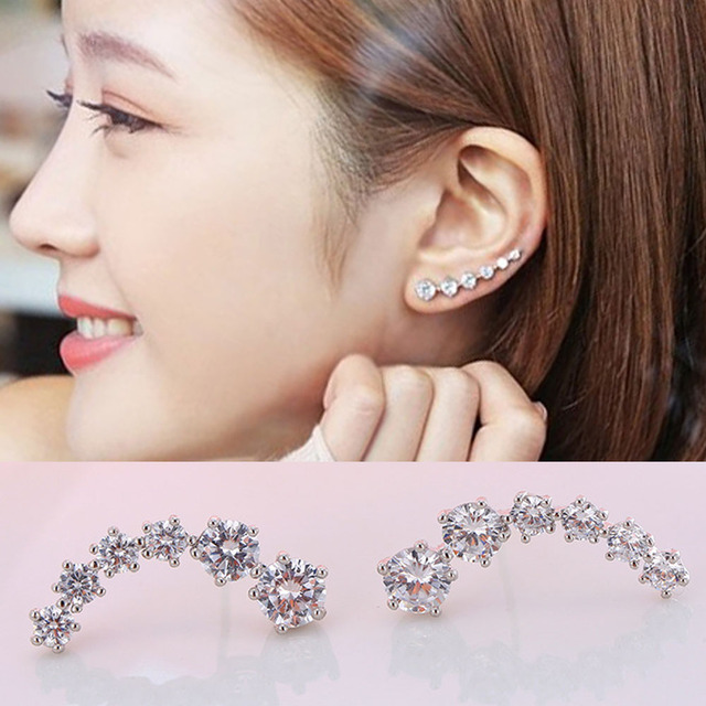 Real Pure Solid 925 Sterling Silver Earrings For Women Jewelry Ear Cuff Cubic Zircon Female