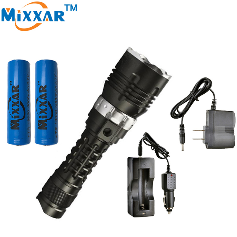 C L2 LED Diving 5000LM Flashlight Dive Torch Military lamp Waterproof underwater 120m lantern Lamp+AC Car charger+18650 Battery 18000 lumens 9 l2 led diving flashlight waterproof lamp lamp work underwater torch diving light 4 18650 battery charger