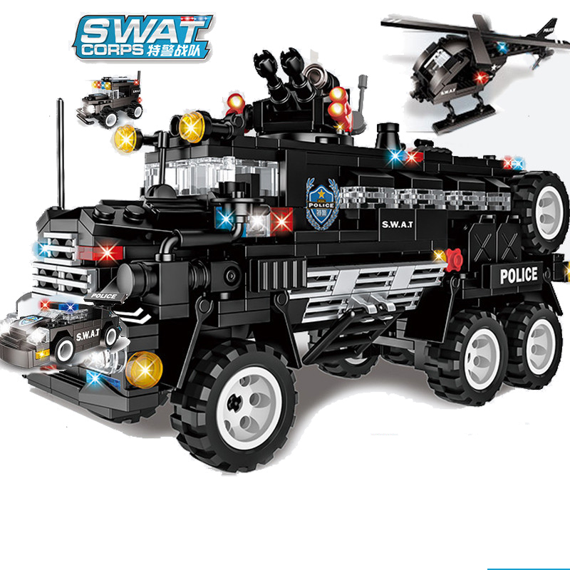 626pcs Children s educational building blocks toy Compatible city SWAT team 6 in 1 armed combat
