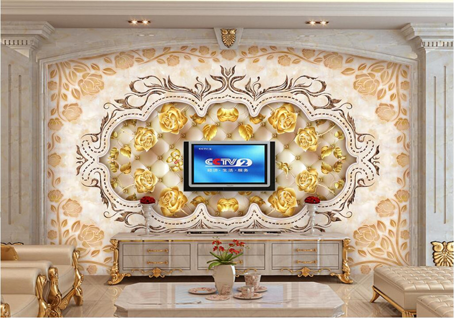 Aliexpress Com Buy Large Custom Mural Wallpapers Living: Custom Large Murals,Marble Gold Rose Wallpaper Papel De