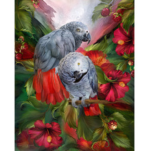 3D DIY Diamond Painting Needlework 3d  EmbroideryTwo Parrots Full Square Drill Rhinestone Pasted Cross Stitch