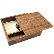 180*180*50mm Fashion Maple/Walnut Wood Photo Unique Album Box Creative Collection Box DIY Wedding Memory Dropship(China)
