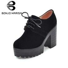 BONJOMARISA נשים של Keroan סגנון כיכר גבוהה עקב נעלי אישה תחרה עד הבוהן עגולה פלטפורמת משאבות גודל גדול 34 43