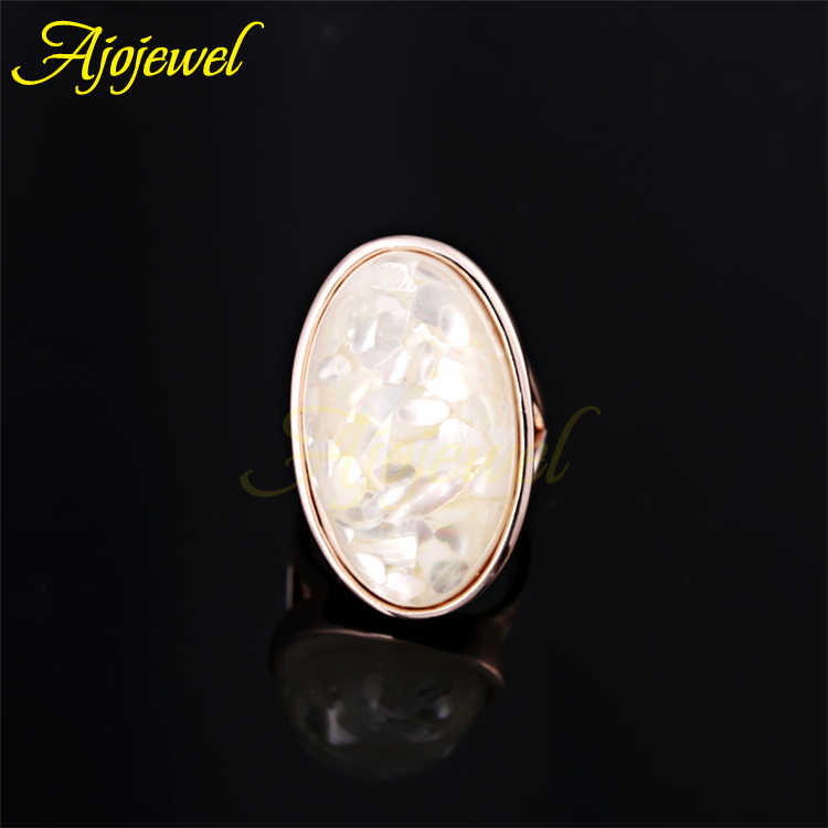 Ajojeel ขนาด 7-11 Luxury สีขาวหินเดี่ยวแหวนสำหรับสุภาพสตรีใหม่ Anillo