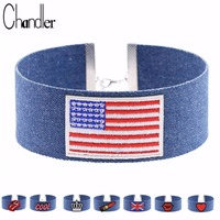 Chandler New Jean Fabric Wide Choker Necklaces For Women USA UK National Flag 13 Charms Choice Punk Gothic Sexy Rose Love Torque