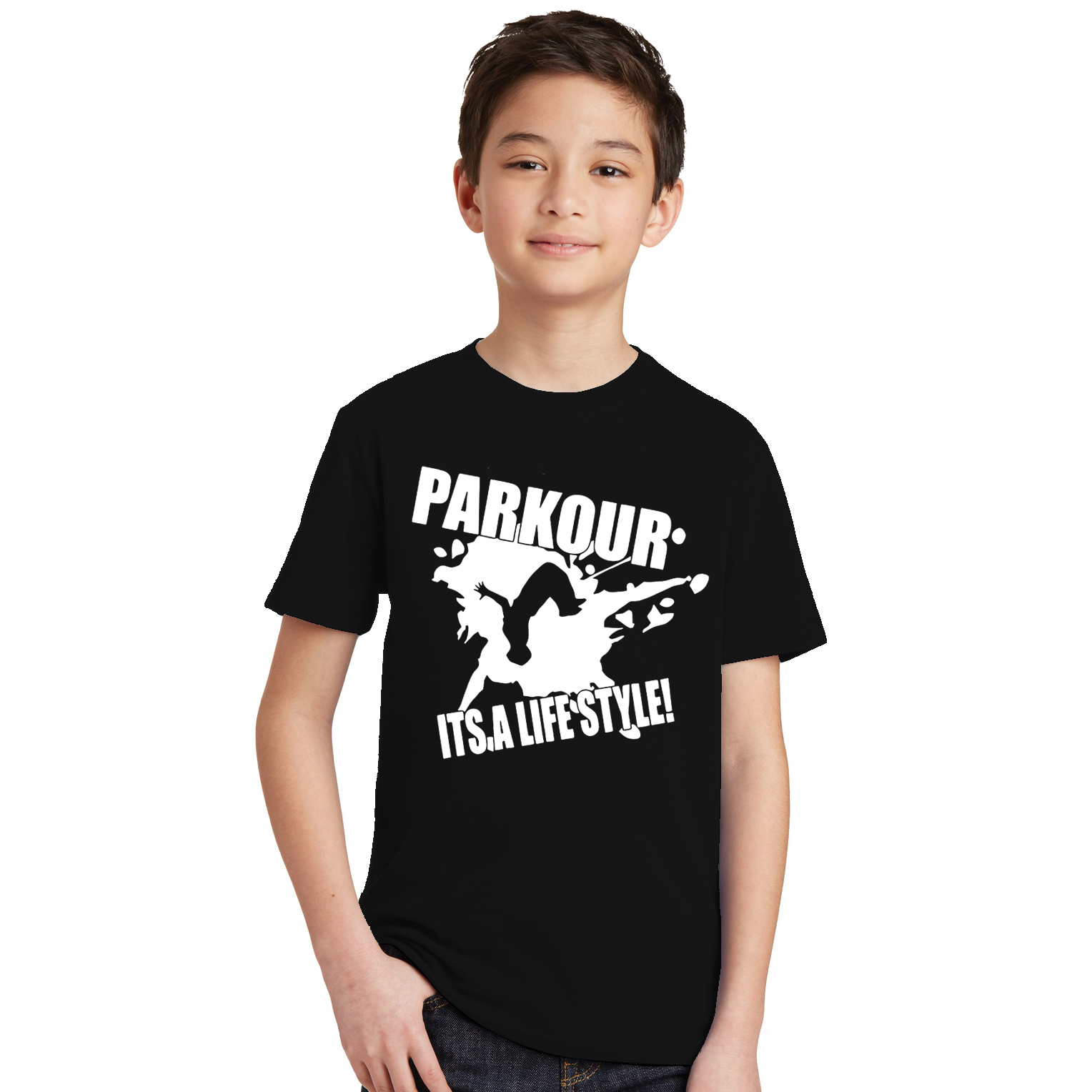 Cotton Shirt Parkour Teen Short-Sleeve Casual O-Neck Brand Its Lifestyle