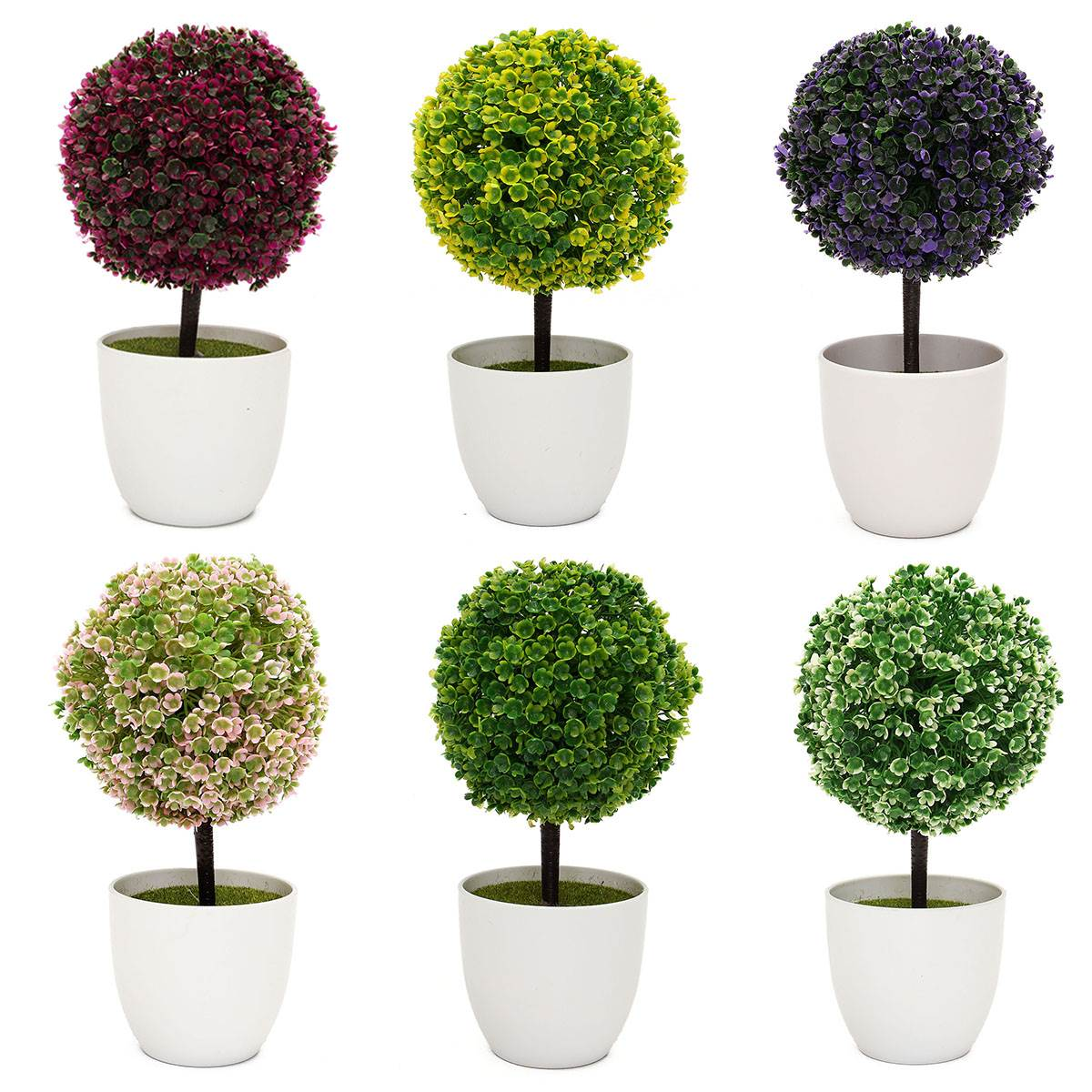 Artificial Topiary Tree & Ball Plants In Pot Colorful Fake Flower ...