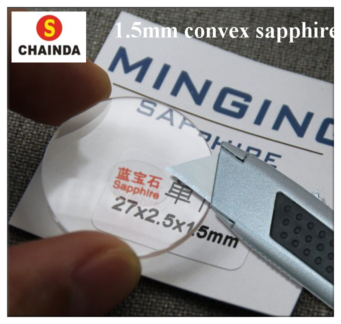Hot! Free Shipping 1pc 1.5mm Single Dome Convex Real Sapphire Crystal From Size 30mm To 40.5mm