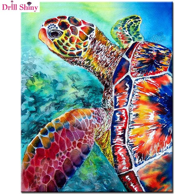 aliexpresscom buy animal full diamond embroidery sea With what kind of paint to use on kitchen cabinets for sea turtle stickers