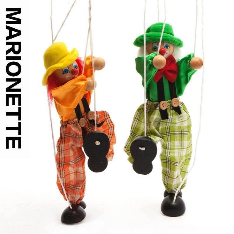 2pcs / lot бебето дървени клоун марионетка играчки / деца деца коледни подаръци / история разказват сянка кукла плюшена кукла, безплатна доставка