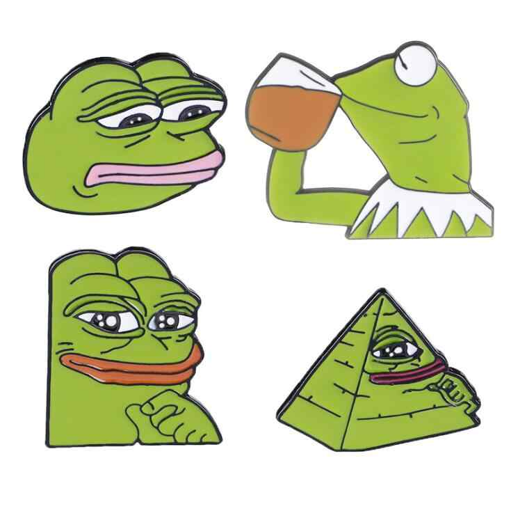High Quality 4 Style Frog Pepe Pin Feels Bad Man Brooch Sad Frog Lapel pin Feels Good Man Badges Pop Culture Pins Frog Jewelry