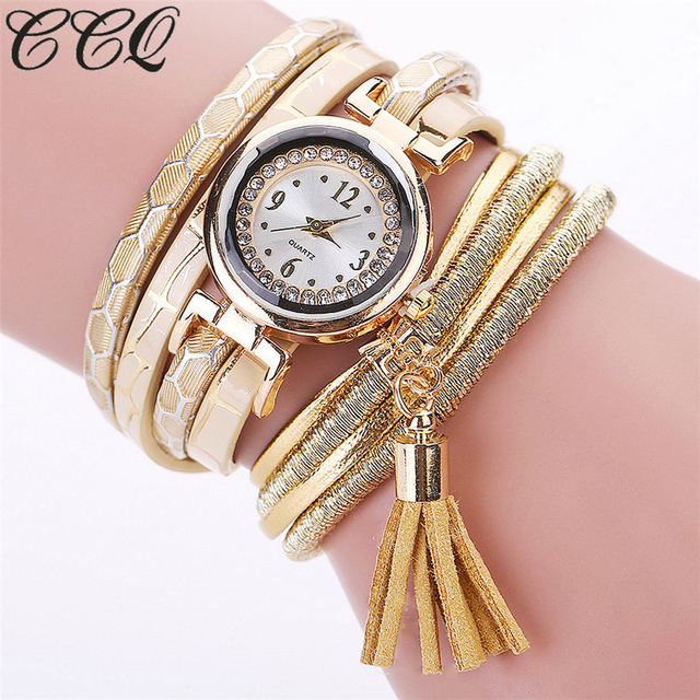 CCQ Brand Fashion Women Bracelet Watch Casual Luxury Multilayer Leather Bracelet