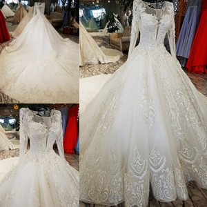 Image 5 - LS53710 ivory as the picture full sleeves o neck ball gown lace up back hand work wedding dresses vestido de noiva real photos