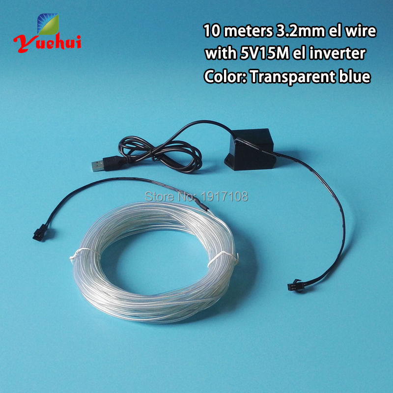 10 Color 3.2mm 10Meter Flexible EL Wire Rope Cable Strip Car toys/Craft Party Decorative Neon Glow Light tube by DC5V USB driver