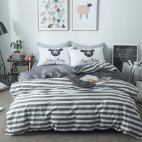 Brief Stripes Duvet Cover Set Grey Solid Color Bed Sheet Mouse Pillow Case Twin Queen King