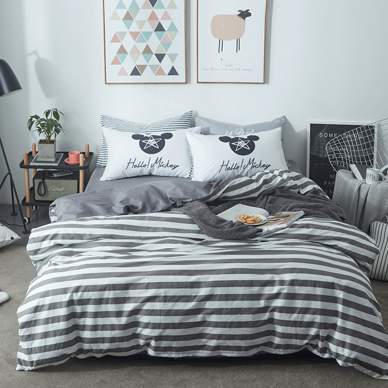Brief Stripes Duvet Cover Set Grey Solid Color Bed Sheet Mouse Pillow Case Twin Queen King Size For Adults 100% Cotton Bedding