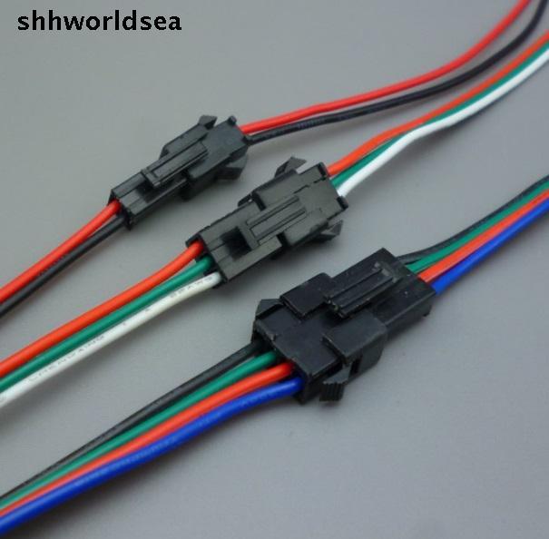 Shhworldsea 5 пар 2 3 4 pin jst разъем 2x10 см 2pin мужской/женский SM провод кабель pigtail для светодиодной полосы света лампы драйвера