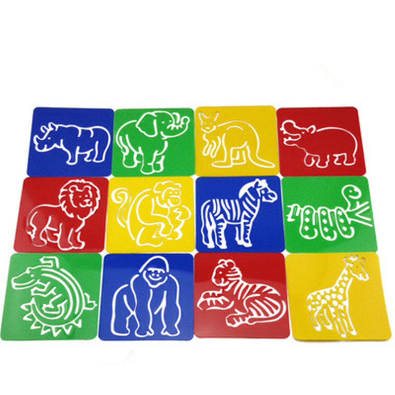 12designsset stencils for painting zoo animal kids drawing templates plastic boards baby hot toys - Free Kids Stencils