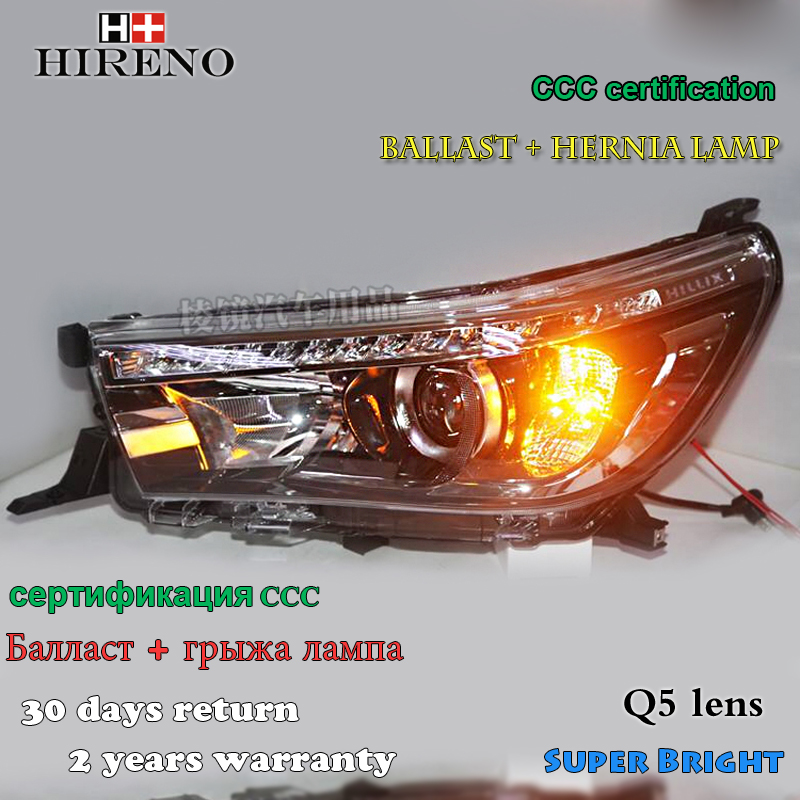 Hireno Headlamp for 2016 2017 Toyota Hilux Headlight Assembly LED DRL Angel Lens Double Beam HID Xenon 2pcs hireno headlamp for 2014 2016 toyota yaris l headlight assembly led drl angel lens double beam hid xenon 2pcs