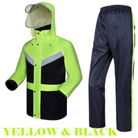 Reflective 2 tone yellow and black raincoat waterproof windproof windbreaker with reflective tapes jacket trousers free shipping