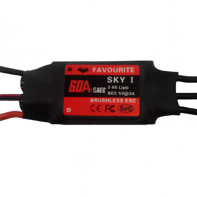 Favourite FVT Sky Series 60A 2-6S Brushless ESC With 5V 3A SBEC For RC Airplane ypg 60a esc brushless speed controller 2 6s sbec for rc helicopter airplane