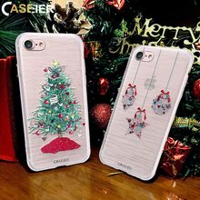 купить CASEIER Christmas Case For iPhone X 6 6s Plus New Year Gift Soft TPU Cover For iPhone 6 6s Plus X 3D Painting Cases Fundas Capa дешево