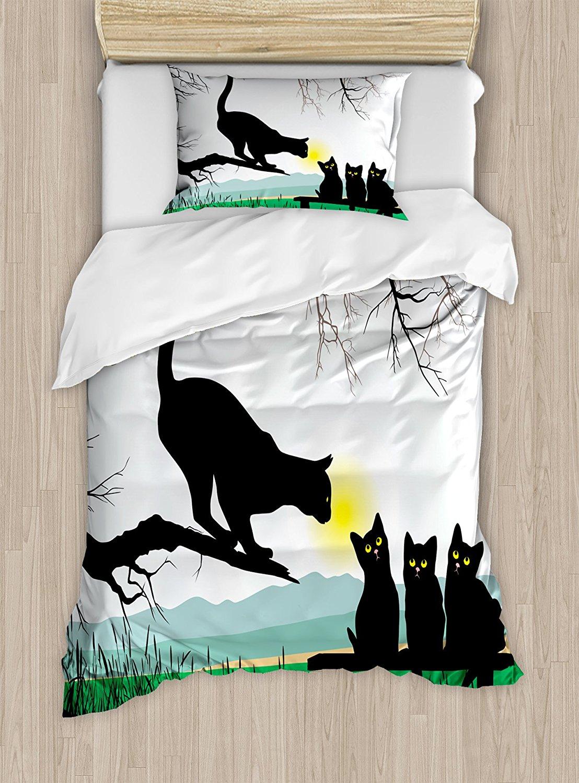 Cat постельное белье мать кошка на ветке дерева и детские котята в парк лучшие друзья я Люблю Мой Котенок Графический 4 комплект постельного б