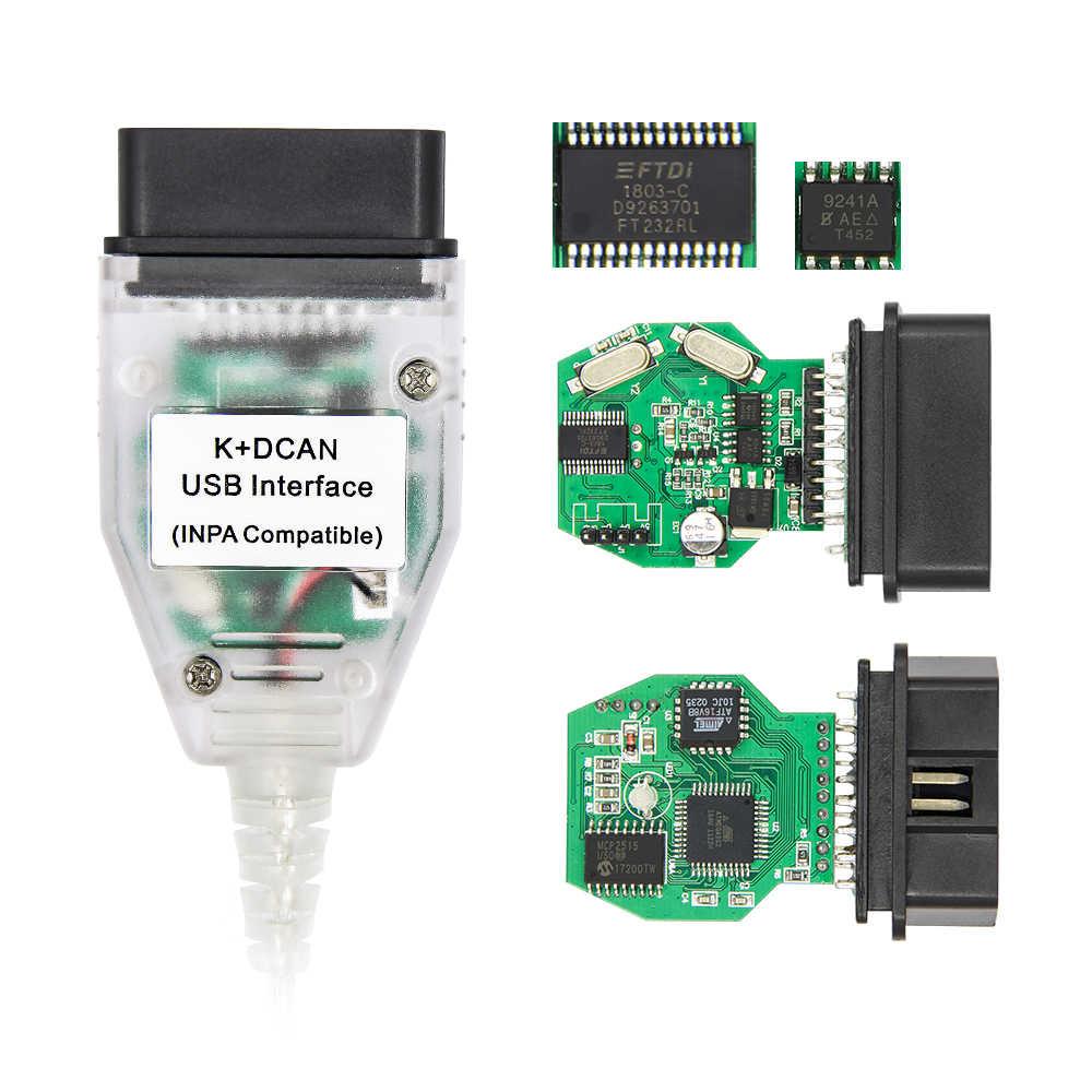 עבור BMW רשות הטבע והגנים K + יכול K + DCAN USB OBD OBD2 אבחון ממשק המתכנת קורא סורק + 20 סיכה עבור BMW 20 p הארכת כבל