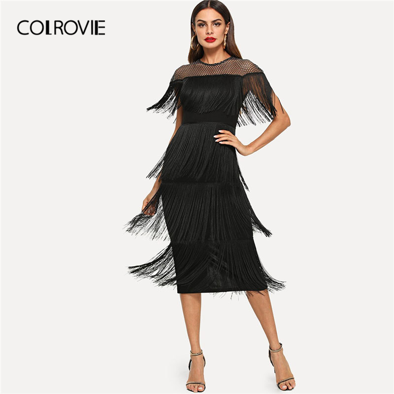 COLROVIE Black Fishnet Mesh Yoke Layered Fringe Bodycon Sexy Dress Women 2019 Summer Slim Fit Pencil Office Ladies Long Dresses