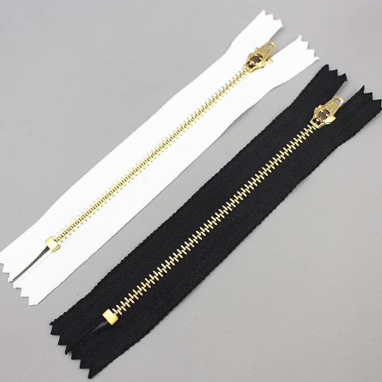 10pcs Copper Zippers 12CM Net Length Sewing Jeans Black