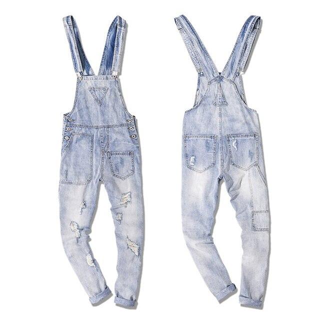 3c585a0f115 Men s Cotton Ripped Jeans Jumpsuit Japan Style Vintage Distressed Denim Bib  Overalls For Men Suspender Pants