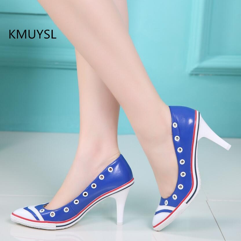 2018 New High-heeled Shoes Woman Pumps Genuine Leather Pointed Toe Stiletto Thin Heel Shoes sgesvier 2017 spring summer women pumps sweet high heeled shoes thin high heel shoes hollow pointed stiletto elegant tr007