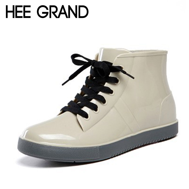 HEE GRAND Winter Rain Boots Rubber Women Ankle Boots Lace-Up Creepers Platform Casual Shoes Woman Women Flats Shoes XWX4849 hee grand lace up gladiator sandals 2017 summer platform flats shoes woman casual creepers fashion beach women shoes xwz4085