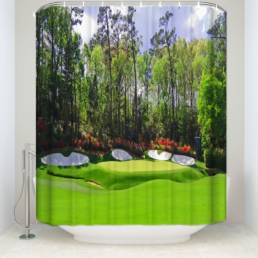 Augusta Amen Corner Golf Shower Curtain Set Waterproof