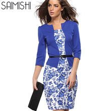 Summer Dress Style Dresses Bodycon Women Fashion Sheath Sexy Office Lady Flower Patchwork Tunic Patchwork One