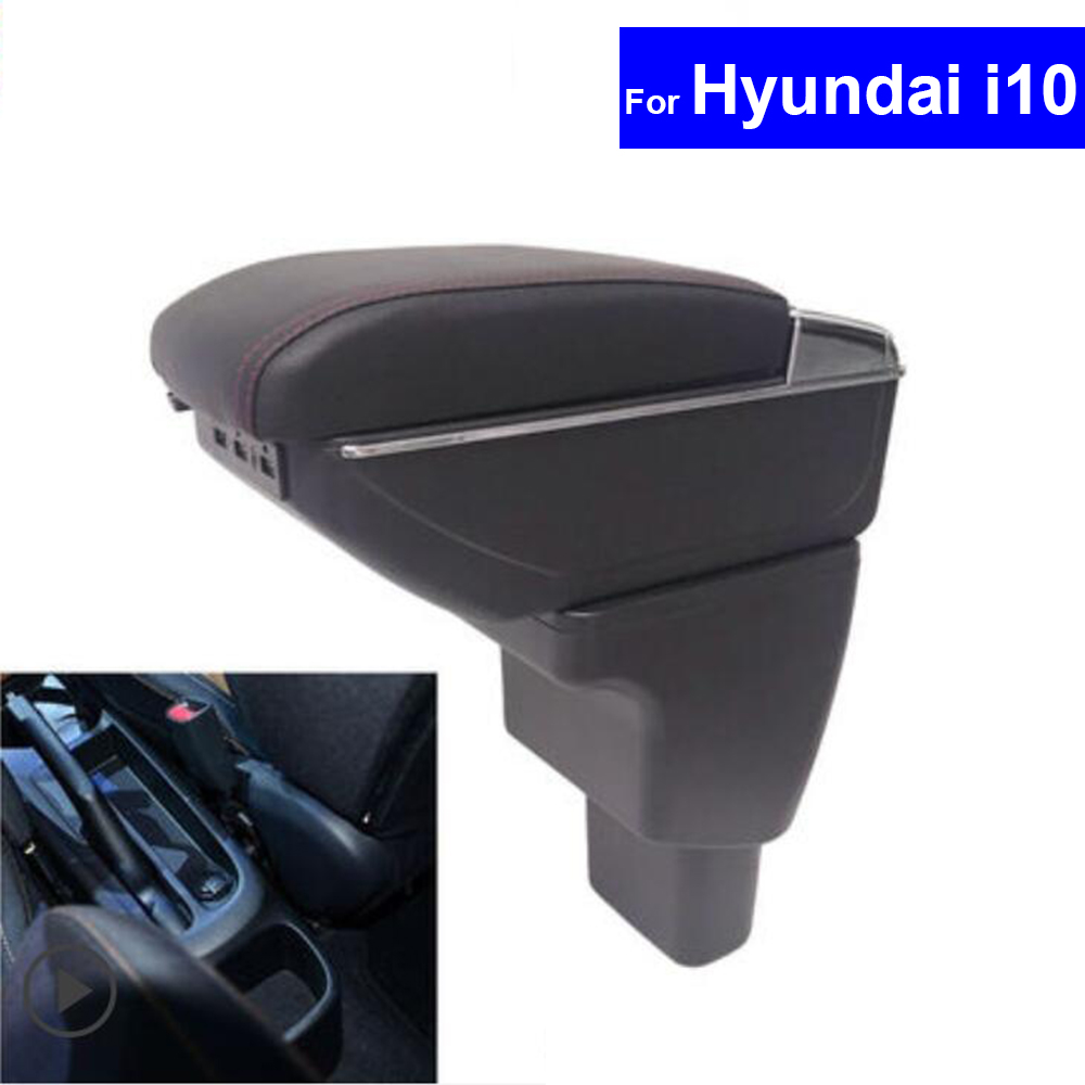 For Hyundai i10 2006~2017 Leather Car Interior Parts Center Console Armrest Box Auto Armrests Storage with USB universal leather car armrest central store content storage box with cup holder center console armrests free shipping